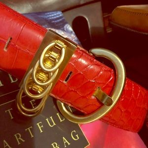 Accessories - Red alligator belt with solid brass fab buckle